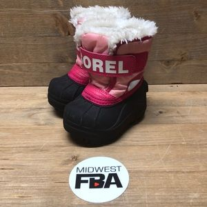 SOREL Girls Pink Snow Boots Fur Lined Size 4